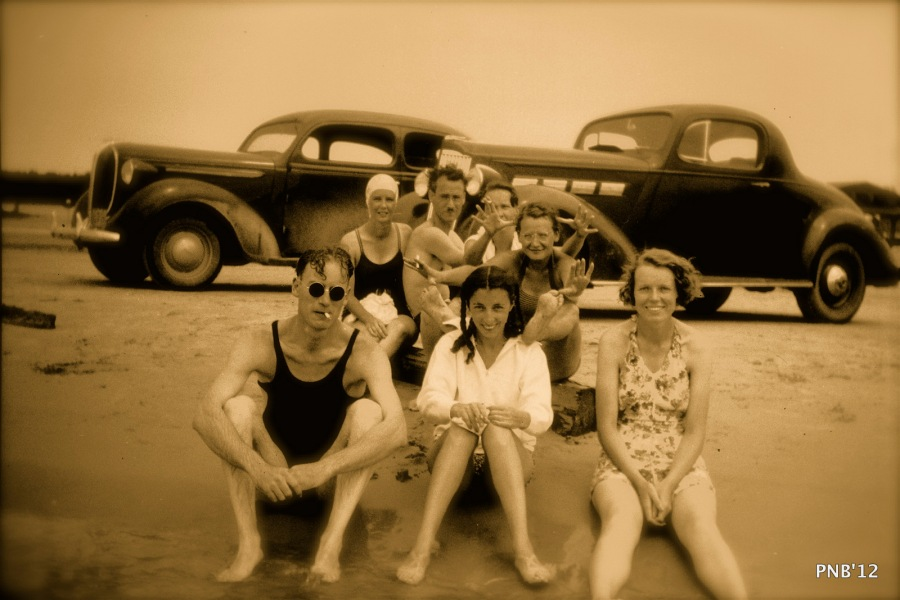 Grandma is the one in the white shirt in the middle with the black hair. Note her feet.