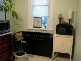 North facing wall - storage in bench
