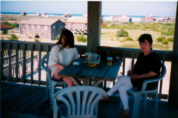 Sharing a pitcher of beer together in the Outer Banks, NC
