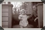 Mom & Grandpa at the farm, c1948ish