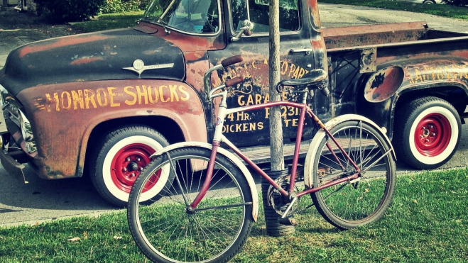 old 1940's bicycle with old pickup truck - thetemenosjournal.com