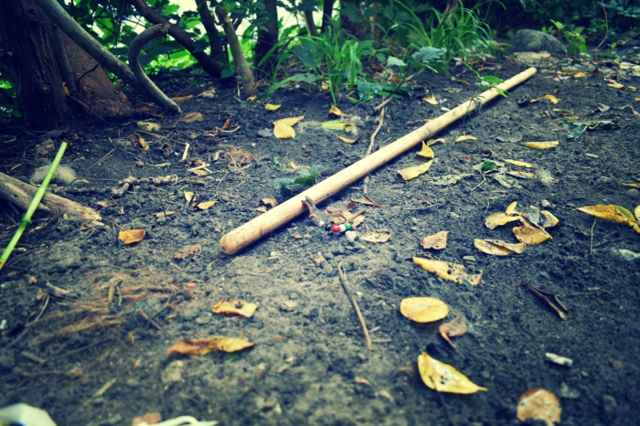 the stick he left behind