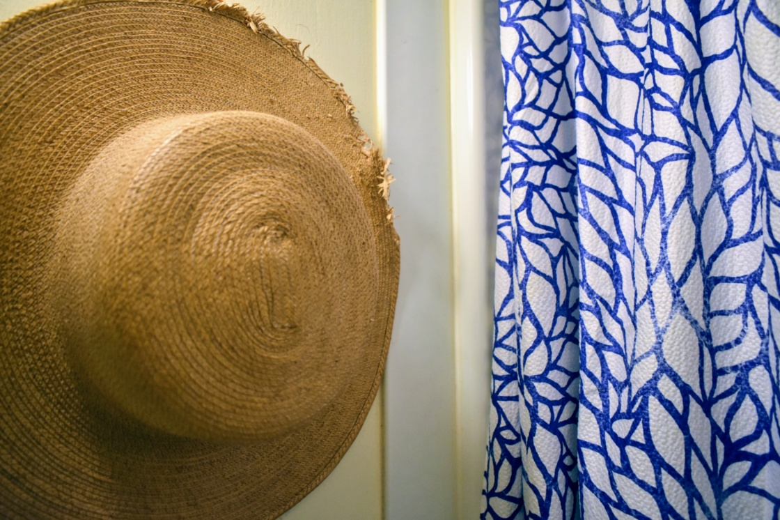 straw and shower curtain