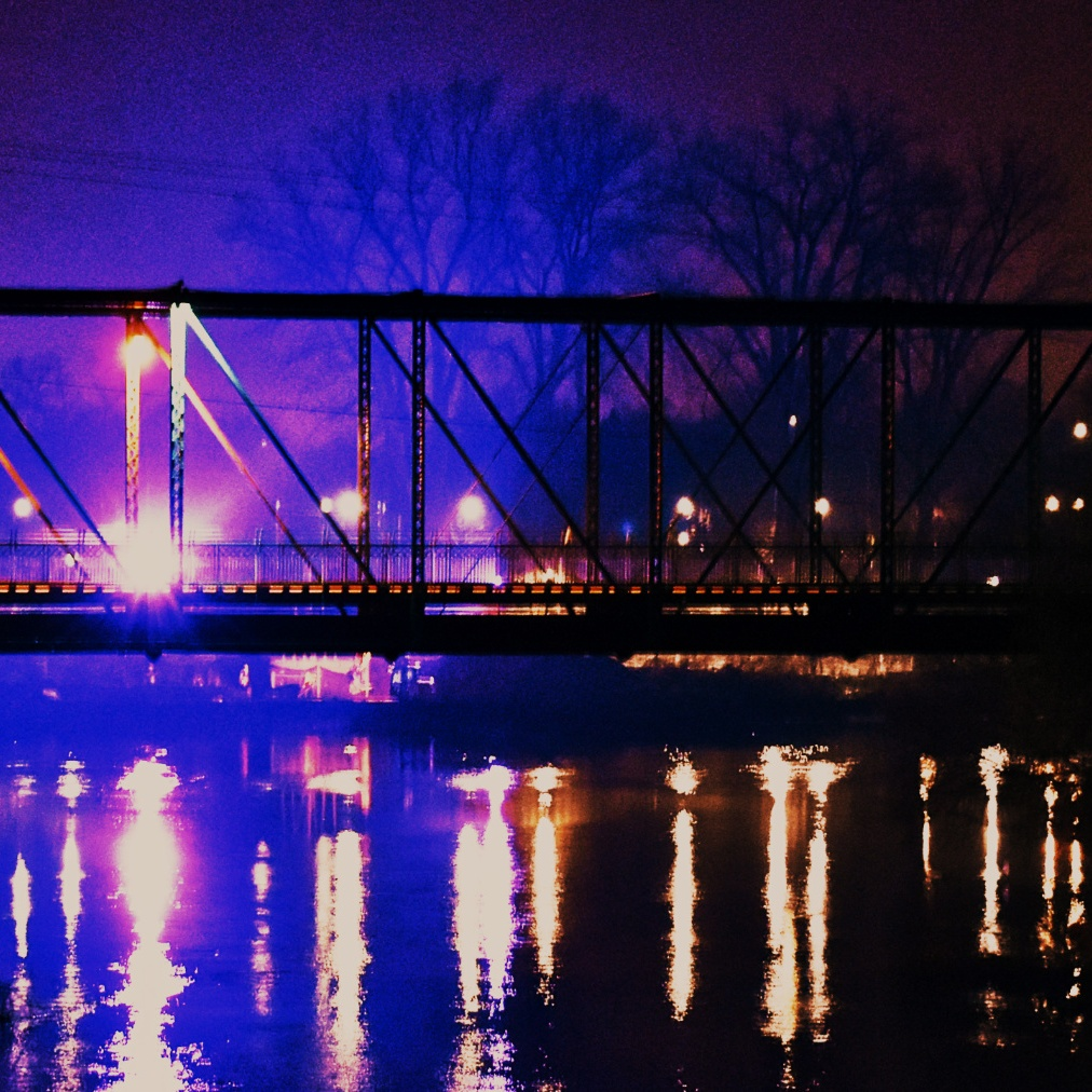 Bridge lit-up over water
