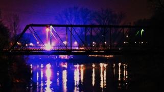 Bridge lit-up over water